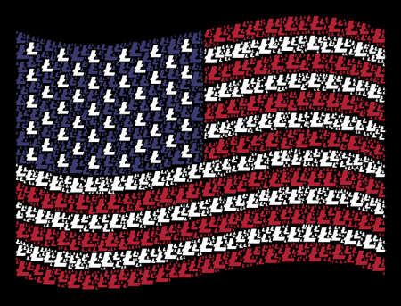 Litecoin icons are organized into waving USA flag stylization on a dark background. Vector concept of America state flag is composed of Litecoin items. Designed for political and patriotic promotion. 일러스트