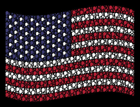 Lier symbols are composed into waving USA flag stylization on a dark background. Vector composition of USA state flag is composed of lier items. Designed for political and patriotic proclamations.