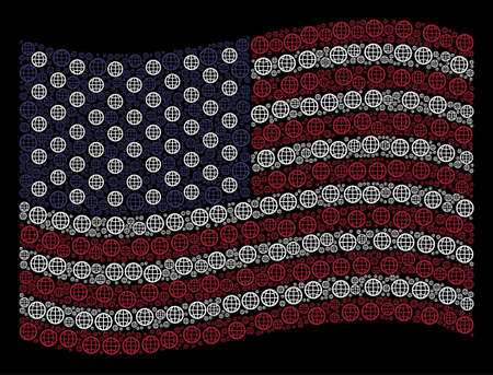 Globe pictograms are combined into waving American flag abstraction on a dark background. Vector collage of USA state flag is formed from globe elements. Designed for political and patriotic agitprop. Illustration