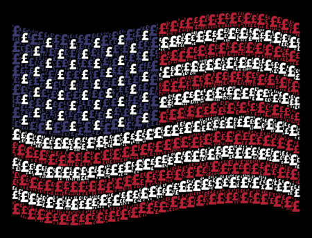 Pound Sterling icons are combined into waving United States flag abstraction on a dark background. Vector concept of America state flag is constructed of Pound Sterling elements.