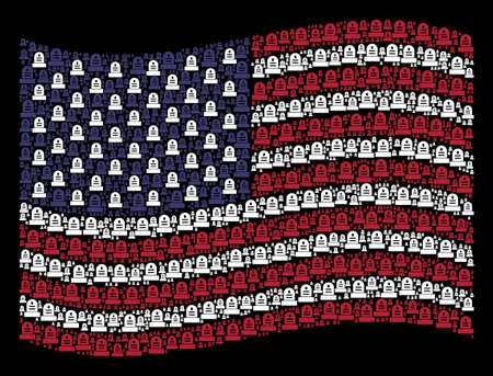 Grave pictograms are combined into waving United States flag abstraction on a dark background. Vector collage of USA state flag is composed of grave elements. 일러스트