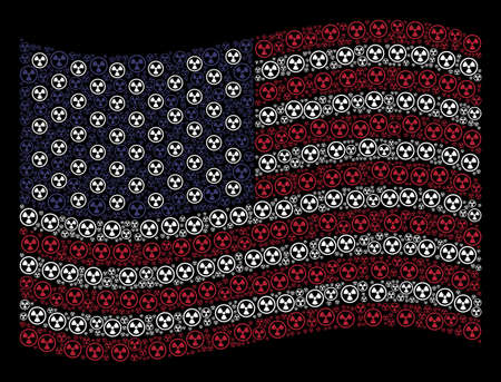 Radioactive symbols are grouped into waving USA flag abstraction on a dark background. Vector collage of America state flag is organized from radioactive elements. Illustration