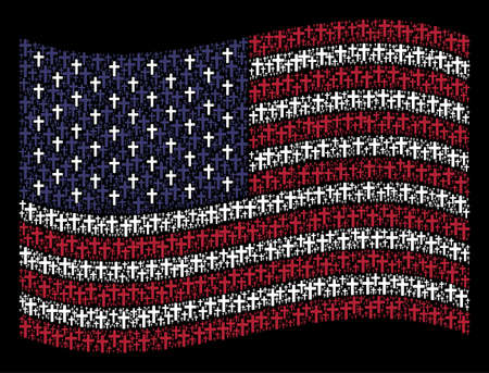 Religious cross symbols are organized into waving USA flag stylization on a dark background. Vector collage of USA state flag is made of religious cross items.