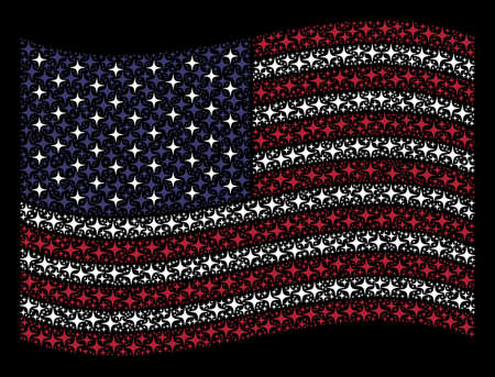 Space star pictograms are arranged into waving United States flag stylization on a dark background. Vector concept of America state flag is formed of space star items.
