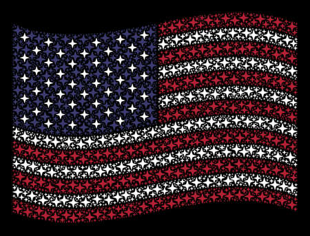 Space star symbols are grouped into waving USA flag stylization on a dark background. Vector composition of American state flag is combined from space star elements. Illustration