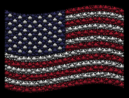 Spectre octopus pictograms are combined into waving American flag abstraction on a dark background. Vector concept of American state flag is combined from spectre octopus elements.