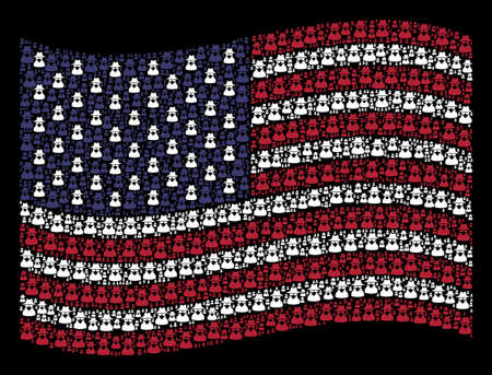 Spy symbols are composed into waving United States flag abstraction on a dark background. Vector composition of USA state flag is constructed with spy elements.