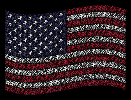Running man symbols are grouped into waving USA flag stylization on a dark background. Vector concept of American state flag is made of running man items. Designed for political and patriotic posters.