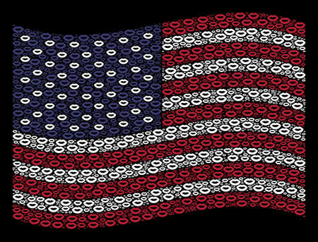 Sexy lips icons are composed into waving American flag stylization on a dark background. Vector composition of American state flag is combined of sexy lips elements. Illustration