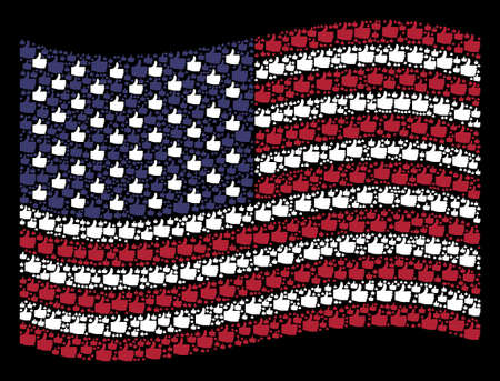 Thumb up icons are grouped into waving American flag stylization on a dark background. Vector concept of American state flag is made with thumb up items. Designed for political and patriotic projects.