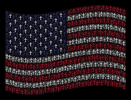 Christian cross icons are arranged into waving American flag stylization on a dark background. Vector concept of American state flag is formed with Christian cross elements.