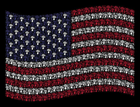 Mushroom icons are combined into waving USA flag abstraction on a dark background. Vector concept of America state flag is formed with mushroom items. Designed for political and patriotic projects.