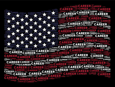 Career text items are combined into waving American flag abstraction on a dark background. Vector concept of USA state flag is constructed with career text items.  イラスト・ベクター素材