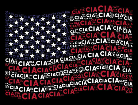 CIA text items are arranged into waving American flag stylization on a dark background. Vector concept of America state flag is constructed from CIA text elements. Ilustração