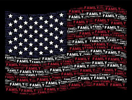 Family text items are composed into waving American flag abstraction on a dark background. Vector composition of American state flag is designed with family text elements.