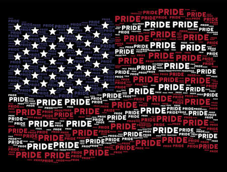 Pride text items are composed into waving USA flag abstraction on a dark background. Vector concept of USA state flag is constructed from pride text items.