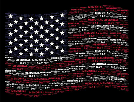 USA flag with Memorial Day text design