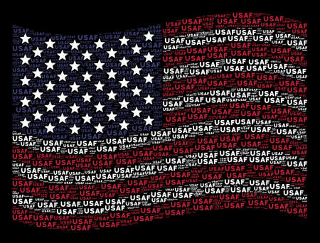 USAF text items are arranged into waving USA flag abstraction on a dark background. Vector composition of America state flag is designed with USAF text items. Vectores