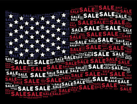 Sale text items are organized into waving USA flag stylization on a dark background. Vector concept of American state flag is formed of sale text items. Designed for political and patriotic agitation.