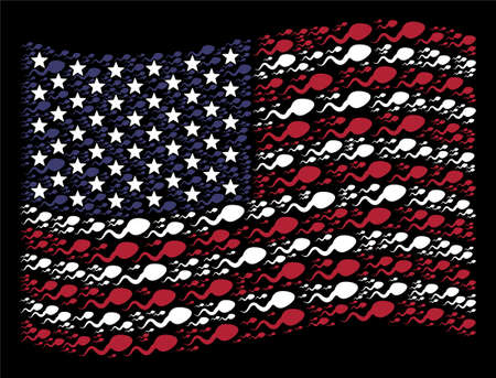 Spermatozoon items are arranged into waving American flag stylization on a dark background. Vector concept of America state flag is formed of spermatozoon items.
