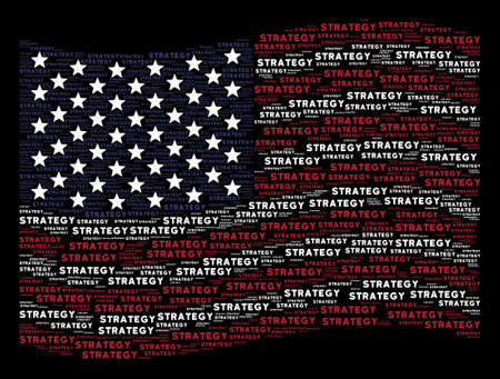 Strategy text items are grouped into waving American flag stylization on a dark background. Vector composition of American state flag is done from strategy text elements. Illustration