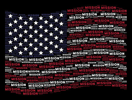Mission text items are composed into waving American flag abstraction on a dark background. Vector concept of USA state flag is organized of mission text elements. Vectores