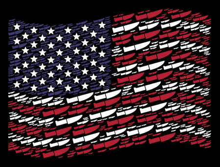 Surgery knife items are combined into waving United States flag stylization on a dark background. Vector composition of America state flag is composed with surgery knife items. 일러스트