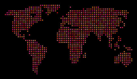 Dotted world map. Vector geographical scheme in red color variations on a black background. Abstract pattern of world map formed from regular square pixels.