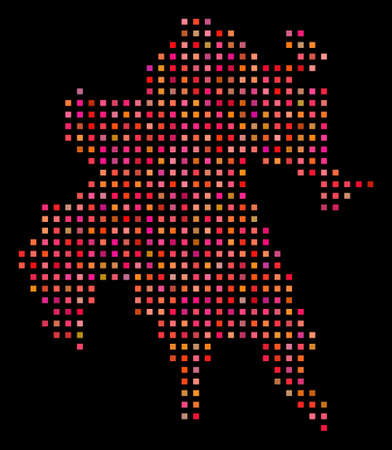 Pixelated Peloponnese Peninsula map. Vector geographical map in red color tones on a black background. Abstract collage of Peloponnese Peninsula map constructed with regular square small elements.