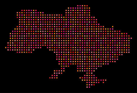 Pixelated Ukraine map with Crimea. Vector geographical map in red color tones on a black background. Abstract pattern of Ukraine map with Crimea combined of regular square dots. Illustration