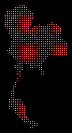 Dotted Thailand map. Vector geographic plan in red color tints on a black background. Abstract mosaic of Thailand map constructed with regular square cells.