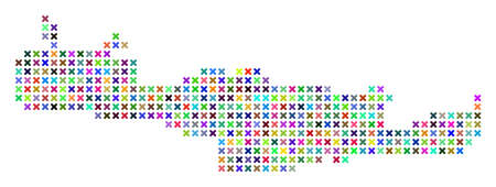 Crete Island map. Vector abstraction of geographic scheme. Regular pattern is organized of x-cross elements in different colors.