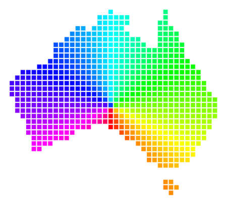 Rainbow Australia map. Vector pixel geographic plan in bright spectrum colors with circular gradient. Impressive vector composition of Australia map designed of regular rectangle cells.