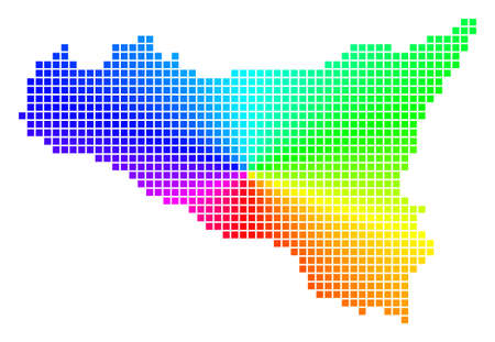 Spectral Sicilia map. Vector dotted geographic scheme in bright spectrum colors with circular gradient. Colored vector abstraction of Sicilia map formed from regular rectangle dots.