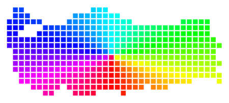 Spectrum Turkey map. Vector dotted geographic map in bright spectral colors with circular gradient. Multicolored vector composition of Turkey map created with regular rectangle elements. Illustration