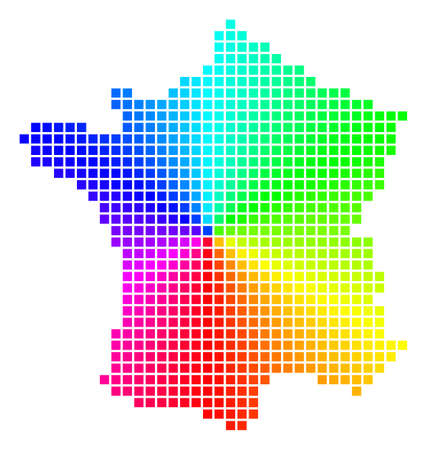 Spectrum France map. Vector pixelated geographic plan in bright rainbow colors with circular gradient. Bright vector pattern of France map designed from regular square pixels. Illustration