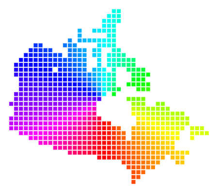 Rainbow Canada map. Vector dotted geographic scheme in bright rainbow colors with circular gradient. Multicolored vector pattern of Canada map done from regular square cells.