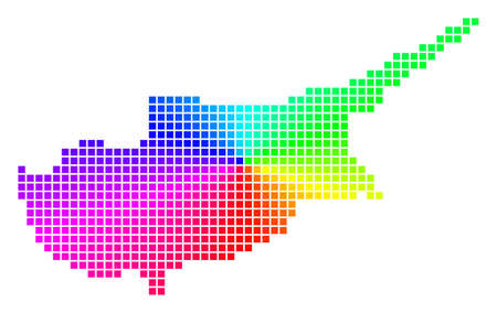 Spectrum Cyprus Island map. Vector cell geographic map in bright rainbow colors with circular gradient. Bright vector collage of Cyprus Island map constructed from regular rectangle small elements.