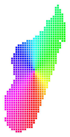 Spectral Madagascar Island map. Vector dot geographic scheme in bright spectral colors with circular gradient.