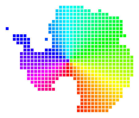 Rainbow Antarctica map. Vector pixel geographic plan in bright spectrum colors with circular gradient. Bright vector abstraction of Antarctica map made from regular rectangle elements. Ilustrace