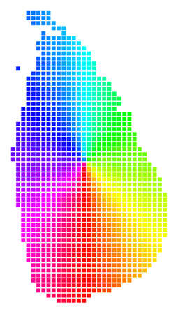 Spectrum Sri Lanka Island map. Vector dot geographic plan in bright spectrum colors with circular gradient.  イラスト・ベクター素材