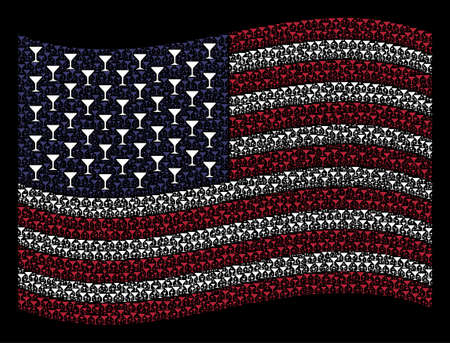 Alcohol glass symbols are composed into waving United States flag abstraction on a dark background. Vector concept of American state flag is created from alcohol glass items. Illustration
