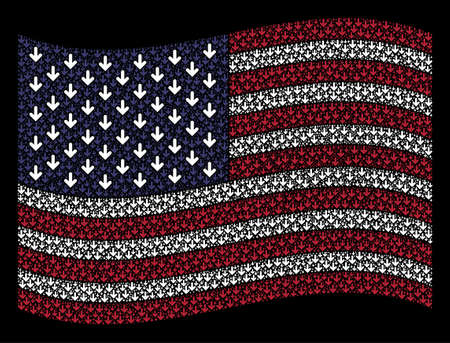 Arrow down icons are combined into waving United States flag stylization on a dark background. Vector composition of American state flag is constructed of arrow down elements.