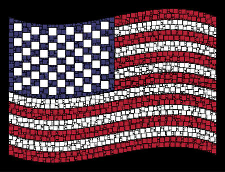 Filled square icons are arranged into waving American flag stylization on a dark background. Vector collage of USA state flag is created from filled square elements.