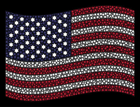 Six pointed star pictograms are arranged into waving USA flag stylization on a dark background. Vector composition of America state flag is made from six pointed star elements. Illustration