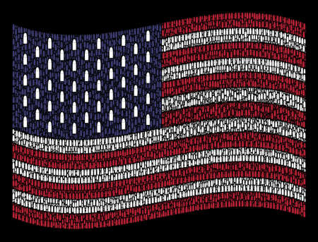 Ammo bullet pictograms are grouped into waving American flag abstraction on a dark background. Vector collage of American state flag is done with ammo bullet items.