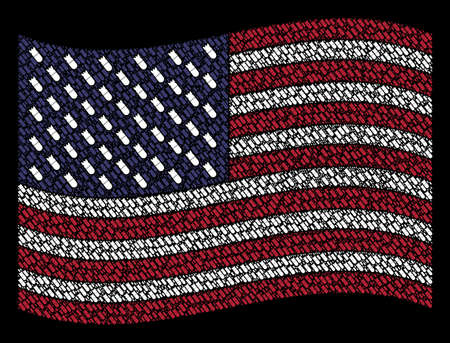 Aviation bomb symbols are grouped into waving American flag abstraction on a dark background. Vector concept of USA state flag is organized of aviation bomb elements.