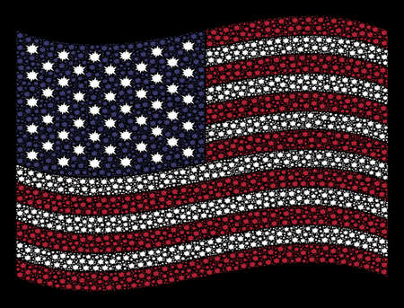 Bang icons are arranged into waving United States flag abstraction on a dark background. Vector concept of USA state flag is organized of bang elements. Designed for political and patriotic promotion.
