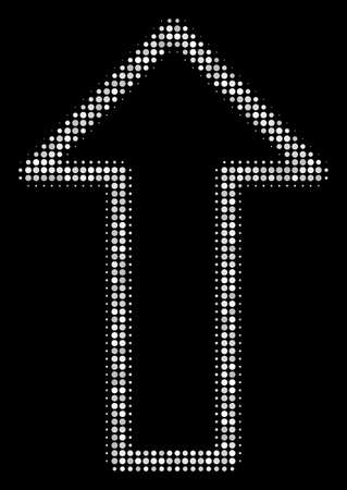Arrow halftone vector icon. Illustration style is dotted iconic arrow icon symbol on a black background. Halftone pattern is round items.