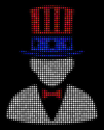 American Uncle Sam halftone vector pictogram. Illustration style is dotted iconic American Uncle Sam icon symbol on a black background. Halftone pattern is round blots. Illustration